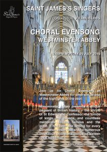Choral Evensong – Westminster Abbey – 5.00pm Monday, 29 July